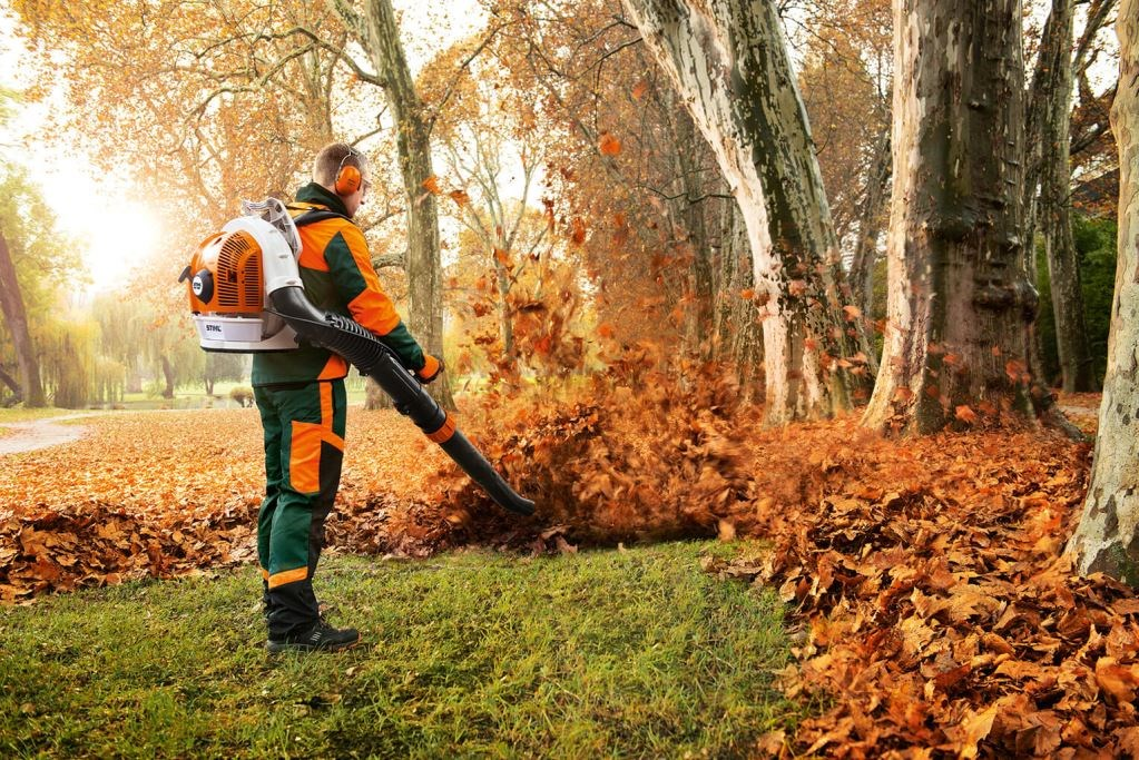 Clearing up autumnal leaves